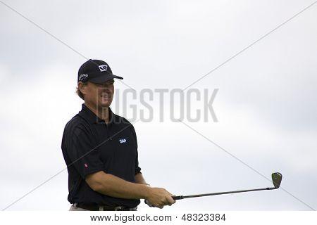 LOCH LOMOND, SCOTLAND - JUL 09 2009; Loch Lomond Scotland; Ernie Els (RSA) competing in the first round of the PGA European Tour Barclays Scottish Open golf tournament.