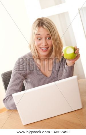 Students Series - Blond Student Working With Laptop