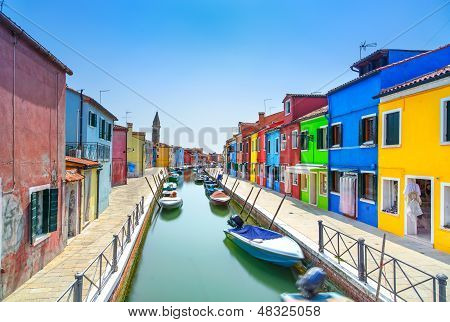 Venice Landmark, Burano Island Canal, Colorful Houses And Boats, Italy