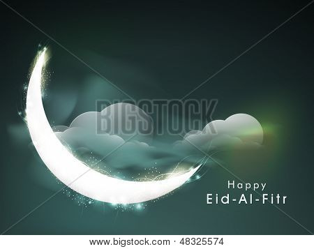 C resent moon in the sky for Muslim community festival Eid Al Fitr (Eid Mubarak)