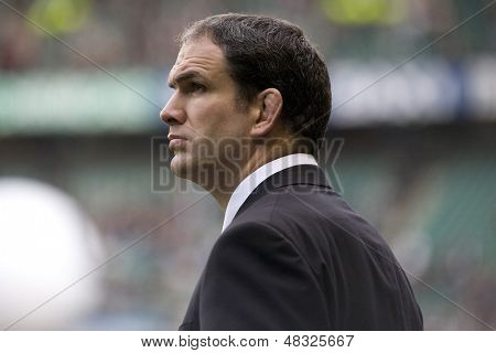 TWICKENHAM LONDON, 27/02/2010. England manager Martin Johnson during the RBS 6 Nations rugby union match between England and Ireland at the Twickenham Stadium.