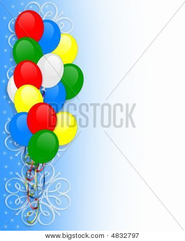 Birthday Party Invitation Balloons Border