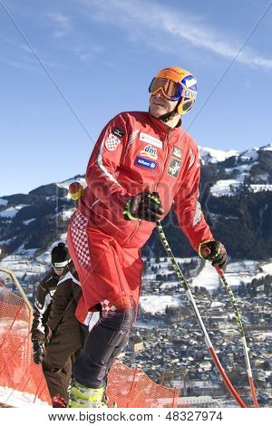 KITZBUHEL TIROL, AUSTRIA - JAN 24 2009; Kitzbuhel Tirol Austria, Ivica Kostelic (CRO) inspecting the course for the Hahnenkamm race  the men's downhill ski race part of the Audi FIS Alpine Ski  World cup.