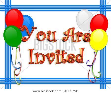 Invitación del cumpleaños globos frontera