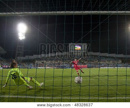 MADRID, SPAIN. 16/05/2010. Olympique's Sarah Bouhaddi is sent the wrong way during the penalty shoot out at the Women's Champions League final  played in the Coliseum Alfonso Perez, Getafe, Madrid.