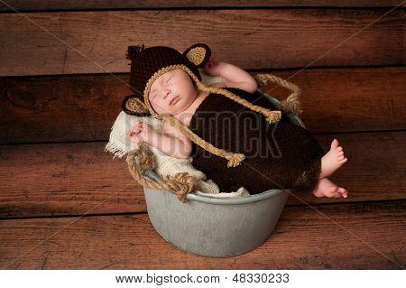 Newborn Baby In A Monkey Costume