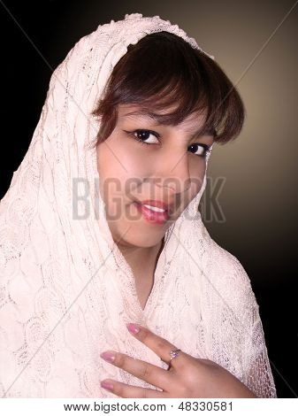 beautiful girl in white kerchief