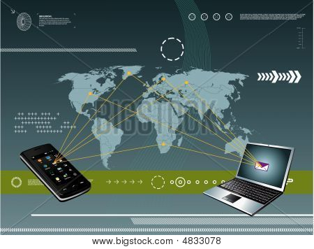 laptop on abstract background