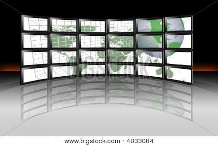 Tv Wall Global World Continents Map