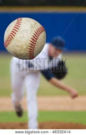 Baseball Pitcher Throwing focus on Ball