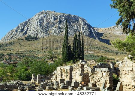 View Of Fortress Acrocorinth, Greece