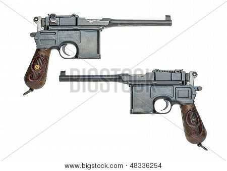 german pistol model 1896/1912 (Mauser) on a white background