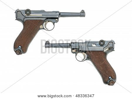german pistol model 1908  on a white background