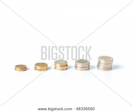 imagens de pilha de moedas em uma linha