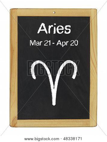the zodiac sign Aries on a blackboard