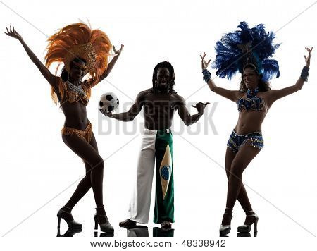 brazilian women samba dancer and soccer player man dancing silhouette  on white background