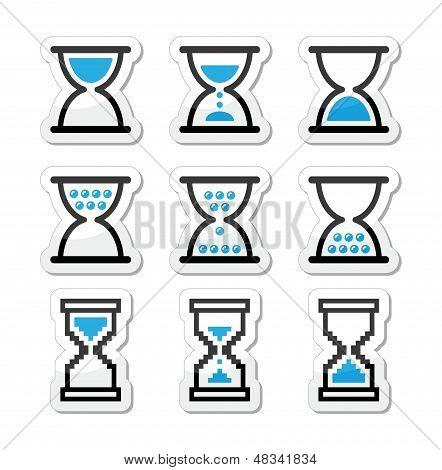 Hourglass, sandglass vector icon set