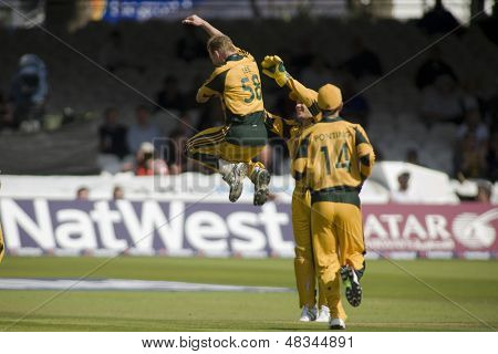 LONDON - 12 SEPT 2009; London England: Australian player Brett Lee reacts  playing in the Nat West, 4th one day international cricket match between England and Australia held at Lords Ccricket ground.