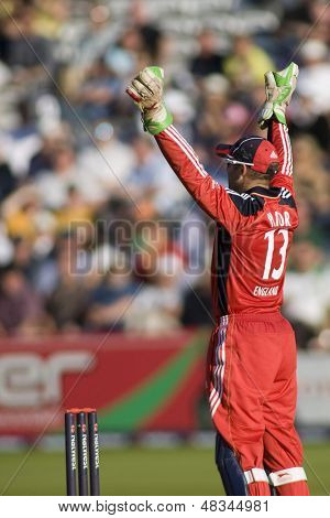 LONDON - 12 SEPT 2009; London England: England team wicketkeeper unsuccessfully appeals for an LBW decision  during the Nat West, 4th one day international cricket match held at Lords Cricket ground