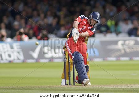 LONDON - 12 SEPT 2009; London England: England team captain Andrew Strauss plays a shot during the Nat West, 4th one day international cricket match between England and Australia held at Lords Cricket ground