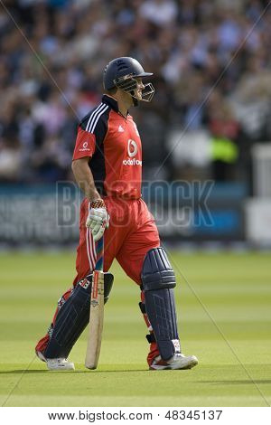 LONDON - 12 SEPT 2009; London England: England team captain Andrew Strauss walks off after being dismissed during the Nat West, 4th one day international cricket match  at Lords Cricket ground
