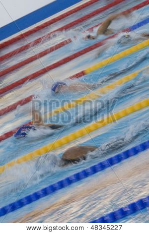 ROME, ITALY - JULY 01 2009; Rome Italy; Joanne Jackson (GBR) competing in the womens 800m freestyle final at the 13th Fina World Aquatics Championships held in the The Foro Italico Swimming Complex.