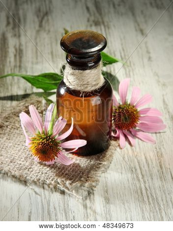 Medicine bottle with purple echinacea flowers on wooden table