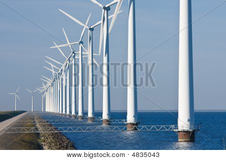 Windmills Along The Dike
