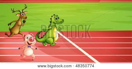 Illustration of a pig, a crocodile and a deer running
