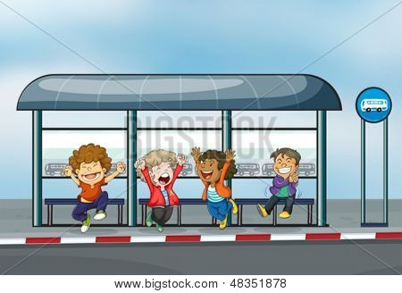 Illustration of the four happy kids at the waiting shed