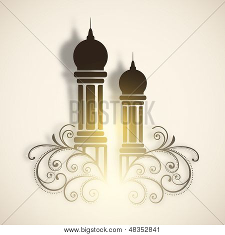 Muslim community festival Eid Al Fitr (Eid Mubarak) concept with mosque on floral decorated background.