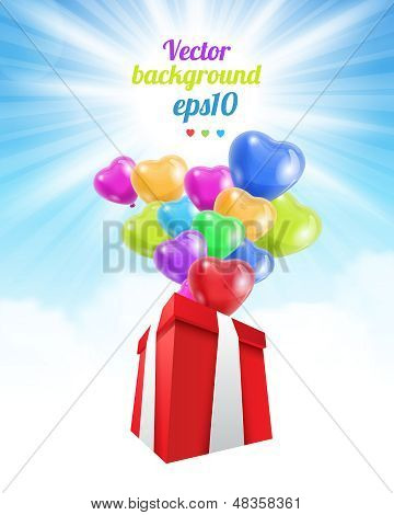 Birthday gift with baloons