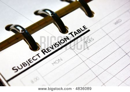 Subject Revision Table