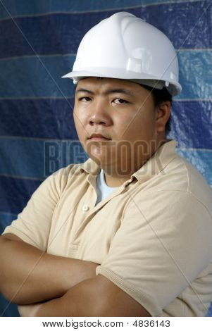 Serious Asian Construction Engineer