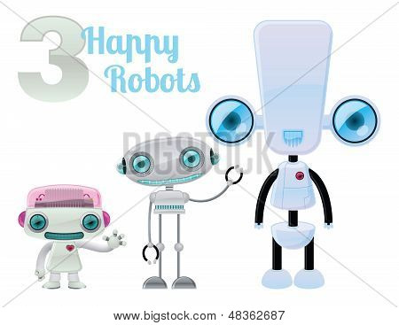 Three Happy Robots