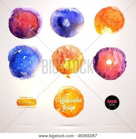 Abstract aquarelle background set. Grunge background. Vintage paper texture. Watercolor vector background for retro design. Hand drawn watercolour illustration. Abstract vector colorful shapes.