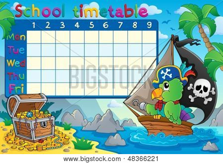 School timetable topic image 8 - eps10 vector illustration.