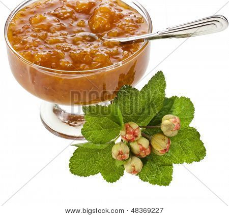 cloudberry jam with spoon close up macro shot isolated on white background