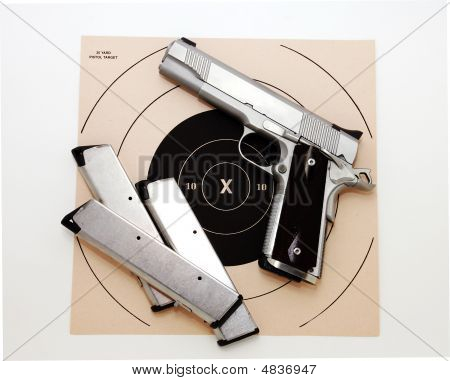 Semi Automatic Pistol And Target
