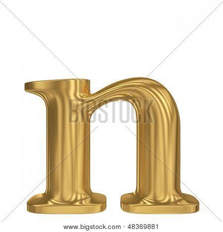 Golden letter n. Gold solid alphabet, high quality 3d render