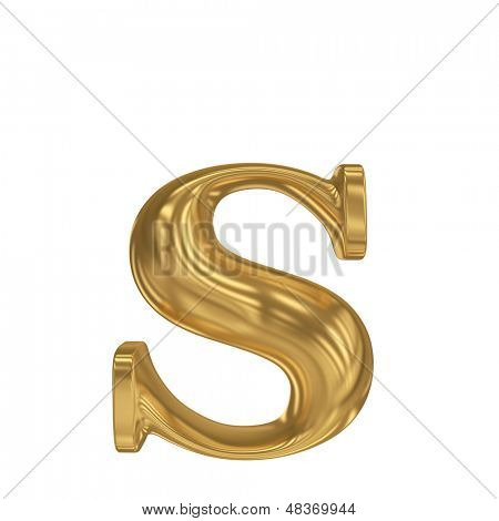 Golden letter s. Gold solid alphabet, high quality 3d render