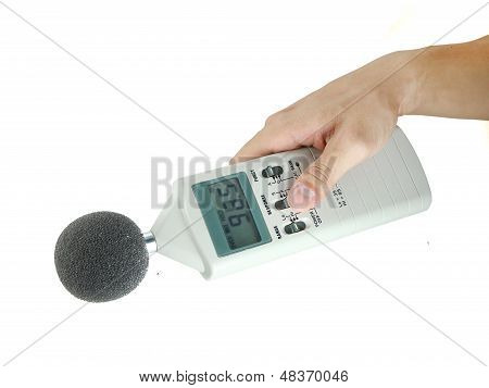 sound level meter holding on hand