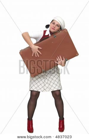 Young Woman Hug Suitcase