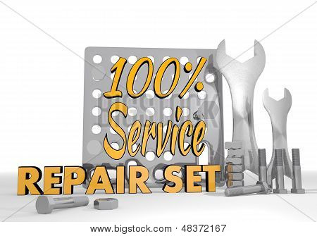 3D Render Of A Mechanical Service Pictogram Repair Set