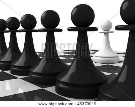Classical Shape Chess Pieces: One White Pawn Opposite Black Pawns On The Chessboard. 3D Render Illus