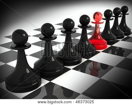 Chess Pieces: One Red Made Of Glass Pawn Among Seven Classical Shape Black Pawns On The Chessboard.