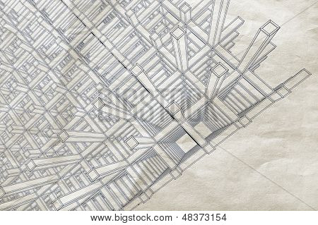 Blueprint With Perspective View Of An Abstract 3D Braced Construction On Old Paper