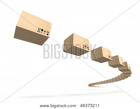 Stream Of Flying Cardboard Boxes Isolated On White. Fast Accuracy Delivery Metaphor