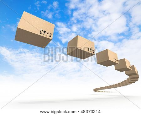 Stream Of Flying Cardboard Boxes Above Blue Sky. Fast Accuracy Delivery Metaphor