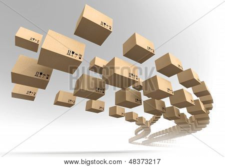 Stream Of Flying Cardboard Boxes. Fast Accuracy Delivery Metaphor